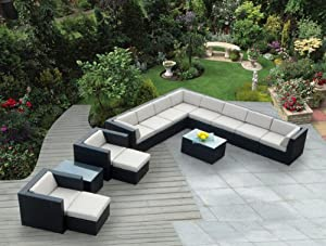 Ohana Collection PN1401 14-Piece Outdoor Patio Sofa Sectional Wicker Furniture Cushion Couch Set from Ohana Depot - DROP SHIP