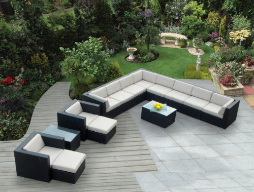 Ohana Collection PN1401 14-Piece Outdoor Patio Sofa Sectional Wicker Furniture Cushion Couch Set photo