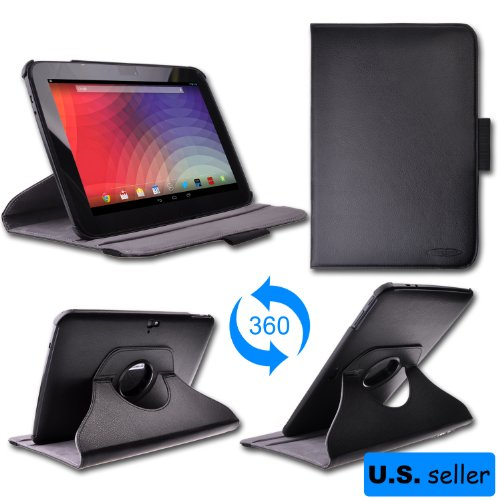 Thankscase(R) Google Nexus 10 Tablet 360 Degrees Rotating Leather Cover Case(Black) With Ultra-Soft Interior,With Multi-Angle For Vertical And Horizontal Stand,With Stylus Pen Holder,Auto Wake/Sleep Smart Cover Function.