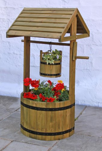 decorative-wooden-wishing-well-patio-planter