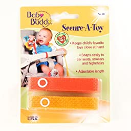 Baby Buddy Secure-A-Toy, Safety Strap Secures Toys, Teether, or Pacifiers to Strollers, Highchairs, Car Seats-Adjustable Length to Keep Toys Sanitary Clean Orange-Gold 2 Count