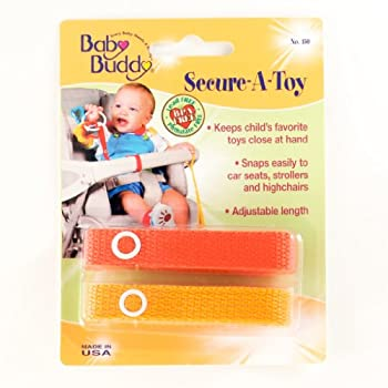 Secure-A-Toy 2pk: Best Seller. Never lose another baby toy. These simple straps provide a safe attractive method for keeping baby's toys close at hand. Just snap one end to the child's toy and the other end to car seat, stroller, high seat, etc. Mach...