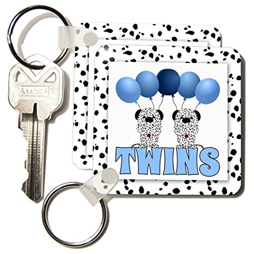Kc_173016_1 Doreen Erhardt Baby Designs - Identical Twins Boys Dalmatians With Balloons In Blue And White - Key Chains - Set Of 2 Key Chains