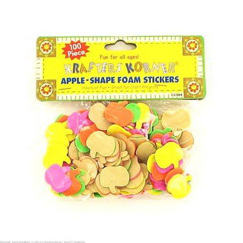 24 Packs of 100 Foam Apple Stickers
