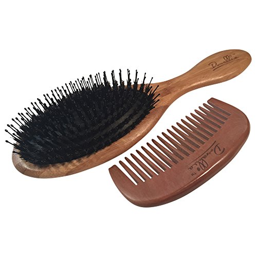 Boar Bristle Hair Brush Set - Eco-Friendly Bamboo Handle - Best for Medium to Thick Hair - Designed for Women and Men - Wood Comb - Traveling Bag Included - Best Gift (Boar Hair Brush Women compare prices)