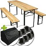 Ensemble table et bancs de brasserie - 3 pièces - avec housse et patins de protection - pliable- en sapin et acier laqué