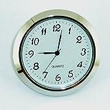 Clock  55mm Silver Bezel fits 50mm hole Arabic Numerals White Dial Quartz Watch s