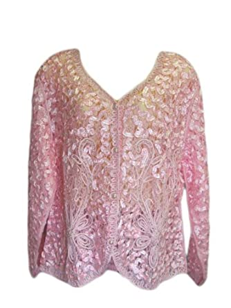 Women's Rose Pink Embroidered Lace Blazer Jacket with Pearls