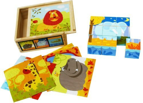 Toys of Wood Oxford Wooden Blocks Jigsaw Puzzles 9 Cubes Of Wild Animals In A Wooden Box