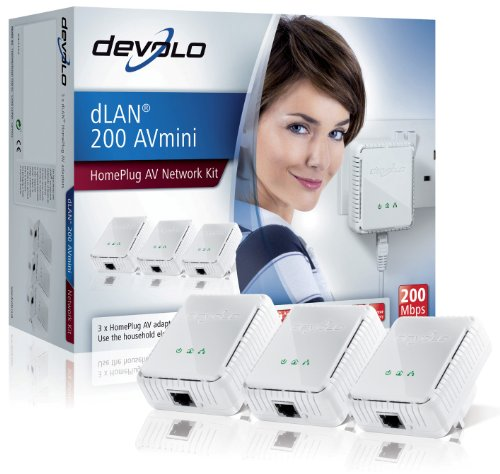 Devolo dLAN 200 AVmini (IEEE 1901/ Hplug AV) Network Kit - Pack of 3 Plugs
