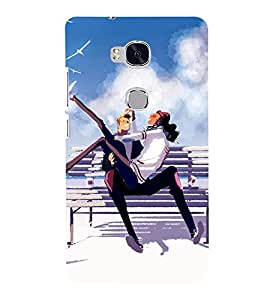 Printvisa Animated Couple On A Seaside 3D Hard Polycarbonate Designer Back Case Cover For Huawei Honor 5X :: Huawei Honor X5:: Huawei Gr5