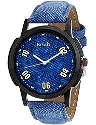 Relish Analog Blue Dial Denim Style Strap Men's Watch Relish-526