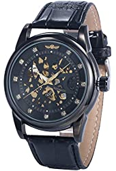 AMPM24 Mens PMW421 Analog Automatic Skeleton Black Dial Leather Band Wrist Watch