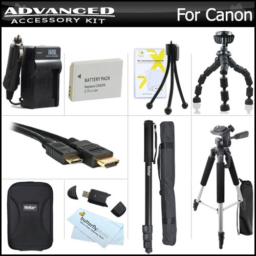Complete Accessory Kit For Canon PowerShot S100, S110 12.1 MP Digital Camera Includes Extended (1200mAh) Replacement NB-5L Battery + Ac/Dc Travel Charger + Deluxe Case + Mini HDMI Cable + 57 Tripod + 67 Monopod + USB Reader + Screen Protectors + More