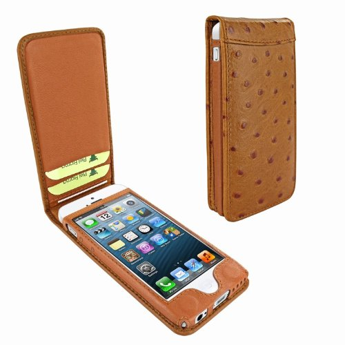 Special Sale Apple iPhone 5 / 5S Piel Frama Tan Ostrich Magnetic Leather Cover