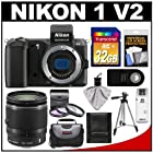 Nikon 1 V2 Digital Camera Body (Black) with 10-100mm VR Lens + 32GB Card + Case + Tripod + 3 (UV/FLD/CPL) Filters + Remote + Accessory Kit
