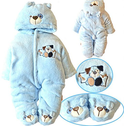 Newborn Baby Clothes Girls Boys Romper Winter Jumpsuit Thicken Cotton 6-9M Blue
