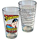 Barware Pint Glass ~ Superman ~ Powerful Pick Up Lines ~ Holds 16 Oz