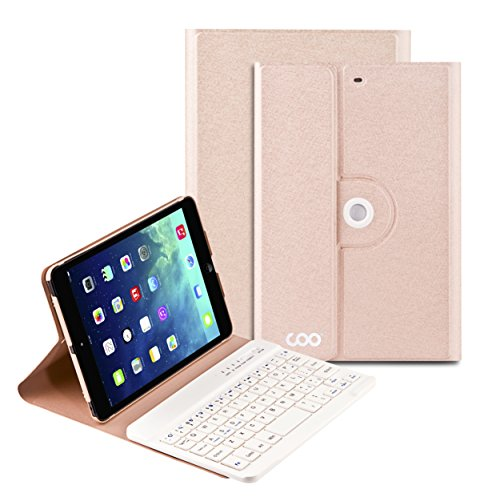 iPad Mini Keyboard, COO Wireless Removable Bluetooth Keyboard Case for Apple iPad Mini 1/2/3 with 360 Degree Rotation and Multi-Angle Stand(Champagne) (Ipad Mini 3 Keyboard Cover compare prices)