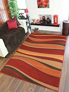 Warm Red, Brown, Green, Burnt Orange Modern Waves Rugs 8 Sizes Available from The Rug House