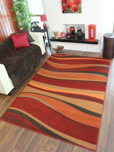 Warm Red, Brown, Green, Burnt Orange Modern Waves Rugs 190cm x 280cm (6ft 3