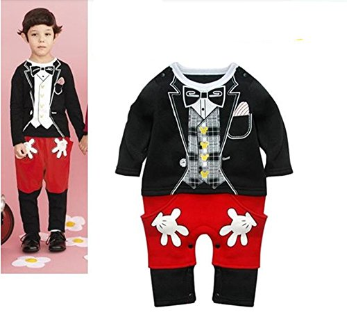 Baby Boy Mickey Mouse Long Sleeve Photo Prop Costume Romper Onesie
