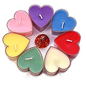 Ancdream Heart Shaped Tea Light Candles 2H Burn Time Valentines Mothers Day