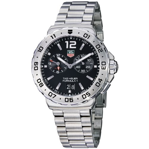 TAG Heuer  Watches special price: TAG Heuer Men's WAU111A.BA0858 Formula 1 Black Dial Grande Date Alarm Watch