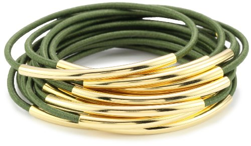 Accessories & Beyond Set of 15 Army Green Color Elastic Bangles