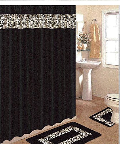 Zebra Black White 18pc Bath Set (Includes Mat, Contour, Shower Curtain, Fabric Hooks, and Towel Set) (Hot Tub Robe Tree compare prices)