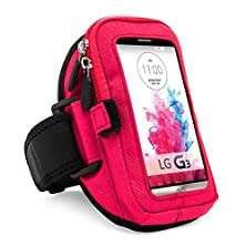 buy Vangoddy Zippered Sport Case Cover Gym Running With Removable Strap Armband With Card & Key Slot For Lg G4/ G3 / G2 / G Pro 2 / Motorola Moto X (Magenta)