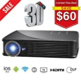 SeeYing I8 3500 Lumen Video Projector HD 3D Home Theater Portable Projector 1280x800 LED DLP Max 300'' Pico Mini Projector Android System Support 1080p WiFi Bluetooth Touch/Remote Control