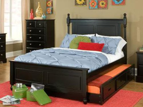 Morelle Full Captain Bed With Trundle By Home Elegance In Black front-1039075