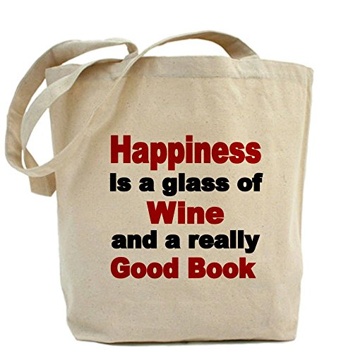 CafePress Happiness is a glass of wine and a really good bo Wine Lover Tote Bag