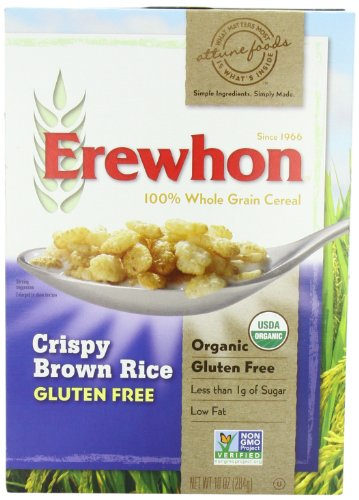 Erewhon Crispy Brown Rice Cereal, Gluten Free, Organic, 10-Ounce Boxes (Pack of 6) by Erewhon