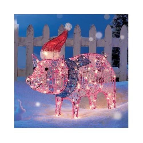 Amazon com lighted pig christmas decorations string lights