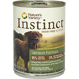 Nature's Variety Instinct, Grain-Free Canned Dog Food, Venison, 13.2 Ounces (Single Can)