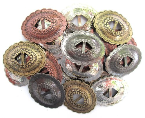"Conchos Mixed Finishes Western 1 1/4"" Oval; Scalloped Style Slotted; 20 Pieces"