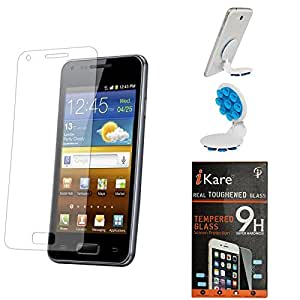 iKare Pack of 2 Premium Shatter Proof Tempered Glass Ultra Clear Screen Protector for Micromax Canvas 4 Plus A315 + Octopus Mobile Phone Holder Stand