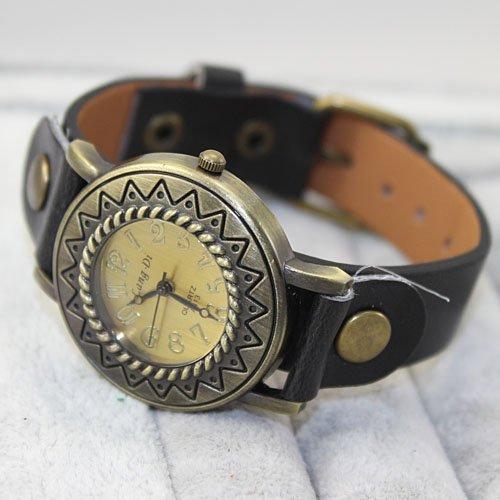 Kano Bak(Tm)Fashion Quartz Leather Vintage Women Dress Watch Wrap Bracelet Wrist Gift Watch Black
