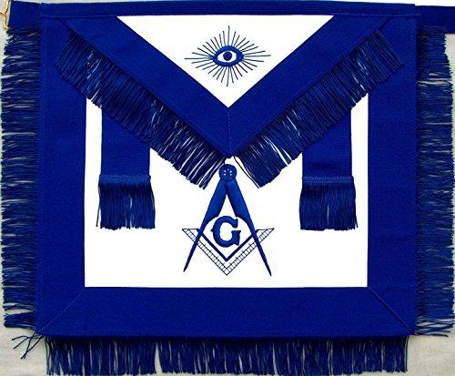 Masonic York Rite Blue Lodge Master Mason Apron with Fringe Hand Embroidered (York Rite Apron compare prices)
