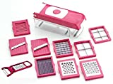 #10: Kitchen Bazaar™ 13 in 1 Premium Nicer Fruit & Vegetable Cutter - Chopper, Grater, Slicer,Peeler - All In One (Pink)