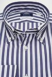 (スキャッティ) SCHIATTI 白 ネイビー ロンドンストライプ ブロード ボタンダウン (細身) ドレスシャツ bd3642