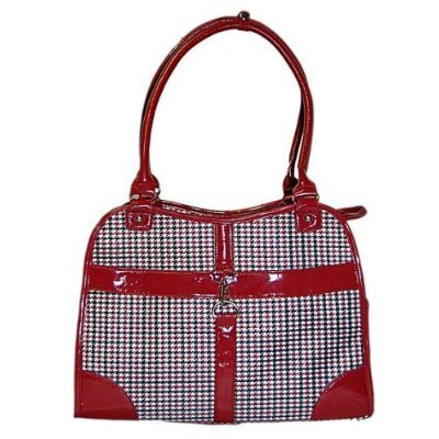 Houndstooth Print Tote Pet Dog Cat Carrier/Tote Purse Travel Airline Bag -Red-Medium front-557358