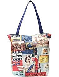 FabSeasons Blue Colored London City And Queen Elizabeth Inspired Digital Printed Handbag