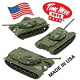 TimMee Toy TANKS for Plastic Army Men: Green WW2 3pc - Made in USA