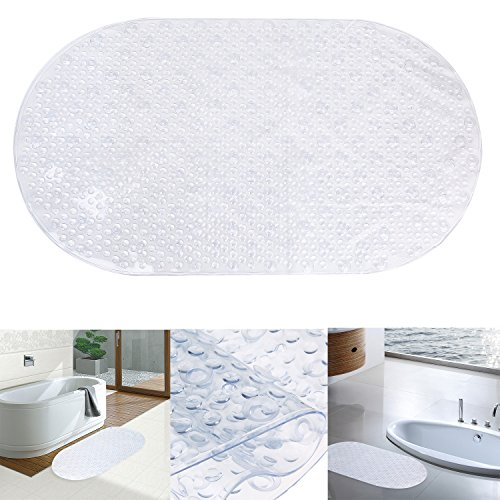"Bath Mat, Danibos Ultra Soft Non-slip Oval-shaped Antibacterial Bathroom Mat,kids Safety Bath Tub Shower Mat (clear, 27""X15"")"