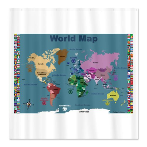 Maps shower curtains shower curtains outlet cafepress blue world map for kids with flags shower curtain standard white gumiabroncs Image collections