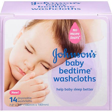 JOHNSON'S Baby Bedtime Washcloths, 14 Each (Pack of 2) - 1
