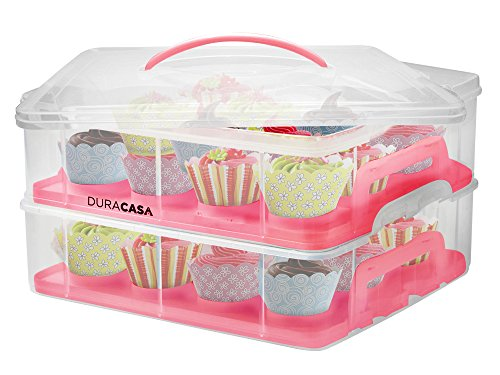 DuraCasa Cupcake Carrier | Cupcake Holder | Store up to 24 Cupcakes or 2 Large Cakes | Stacking Cupcake Storage Container | Cupcake, Cookie, or Cake Dessert Carrier (Red)